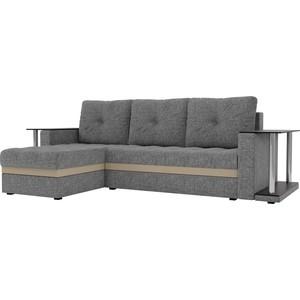 Угловой диван АртМебель Атланта М 2 стола рогожка серый левый угол