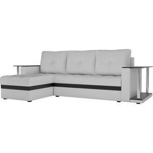 Угловой диван АртМебель Атланта М 2 стола экокожа белый левый угол