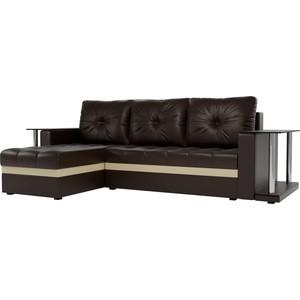 Угловой диван АртМебель Атланта М 2 стола экокожа коричневый левый угол