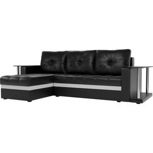 Угловой диван АртМебель Атланта М 2 стола экокожа черный левый угол