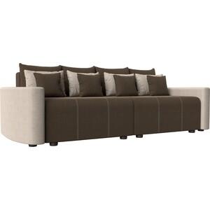 Прямой диван Лига Диванов Бристоль рогожка коричневый/бежевый цена