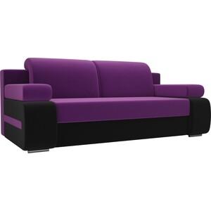 Прямой диван Лига Диванов Денвер вельвет фиолетовый/черный