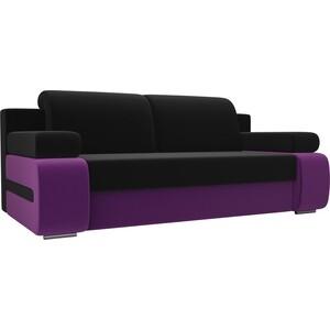 Прямой диван Лига Диванов Денвер вельвет черный/фиолетовый