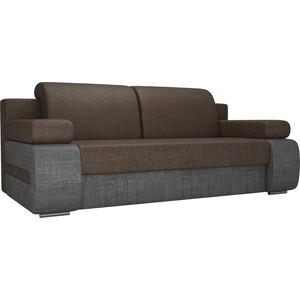 Прямой диван Лига Диванов Денвер рогожка коричневый/серый фото