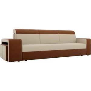 Прямой диван с двумя пуфами Лига Диванов Мустанг рогожка бежевый/коричневый