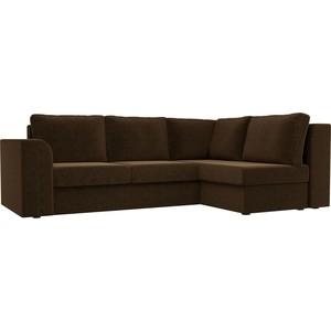 Угловой диван Лига Диванов Пауэр вельвет коричневый правый угол угловой диван лига диванов пауэр рогожка коричневый правый угол