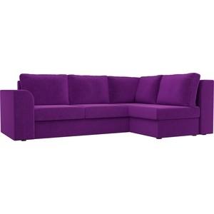 Угловой диван Лига Диванов Пауэр вельвет фиолетовый правый угол