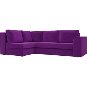 Угловой диван Лига Диванов Пауэр вельвет фиолетовый левый угол