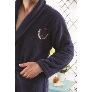 цена Набор халат с полотенцем Karna микротон Marine XL (3100/CHAR001) Синий онлайн в 2017 году