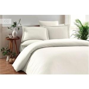 Комплект постельного белья Karna Евро, бамбук/хлопок, Ruya (3092/CHAR003) Экрю