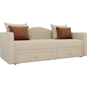 Детский прямой диван АртМебель Дориан рогожка бежевый подушки коричневые