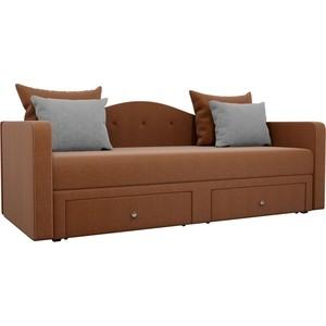 Детский прямой диван АртМебель Дориан рогожка коричневый подушки серые