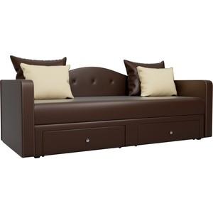 Детский прямой диван АртМебель Дориан экокожа коричневый все цены