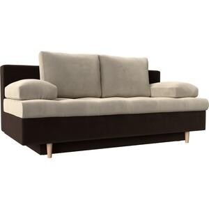Прямой диван АртМебель Спенсер вельвет бежевый/коричневый