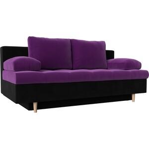 Прямой диван АртМебель Спенсер вельвет фиолетовый/черный