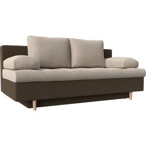 Прямой диван АртМебель Спенсер рогожка бежевый/коричневый