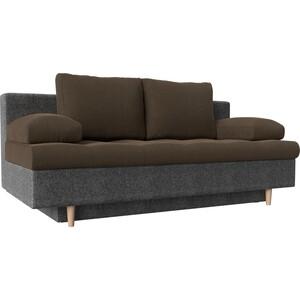 Прямой диван АртМебель Спенсер рогожка коричневый/серый