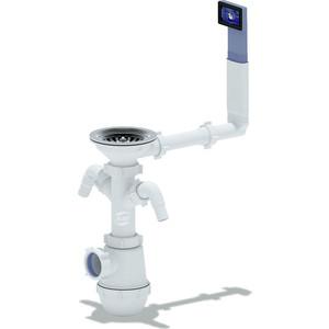 Сифон для кухонной мойки АНИ пласт Грот 3 1/2х40 с двумя отводами стиральной машины, жестким переливом (A0146)