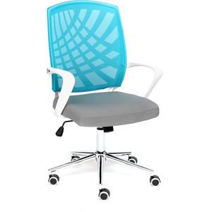 Кресло TetChair RAY ткань/сетка, серый 341/бирюзовый D18