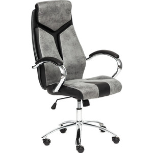 Кресло TetChair GLOSS хром, кож/зам, серый/черный 45