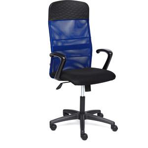 Кресло TetChair BASIC ткань/кож/зам, черный/синий, TW-11/W-10/36-6/06 кресло tetchair runner кож зам ткань черный оранжевый 36 6 tw 07 tw 12