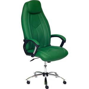 Кресло TetChair BOSS (хром), кож/зам, зеленый/зеленый перфорированный, 36-001/36-001/06