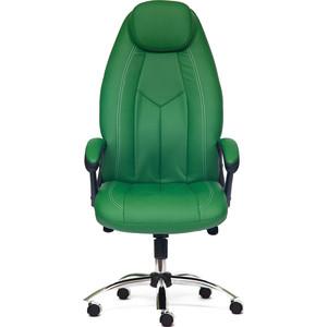 Кресло TetChair BOSS люкс (хром), кож/зам, зеленый/зеленый перфорированный, 36-001/36-001/06