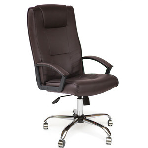 Кресло TetChair MAXIMA хром, кож/зам, коричневый, 36-36