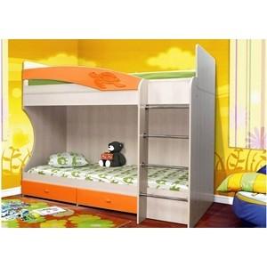 Кровать 2 - х ярусная Олимп Адель 1 дуб линдберг/ПВХ оранжевый металлик