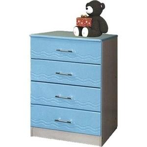 Комод Олимп Лего - 1 дуб линдберг/ПВХ голубой металлик