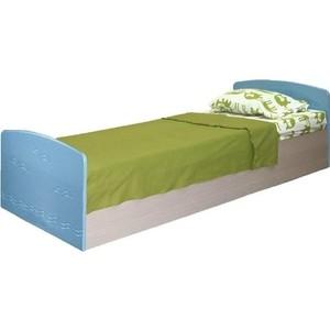 Кровать одинарная Олимп Лего - 2 дуб линдберг/ПВХ голубой металлик