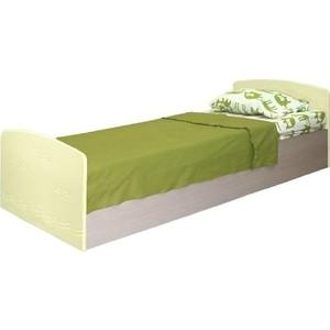 Кровать одинарная Олимп Лего - 2 дуб линдберг/ПВХ кремовый металлик
