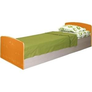Кровать одинарная Олимп Лего - 2 дуб линдберг/ПВХ оранжевый металлик