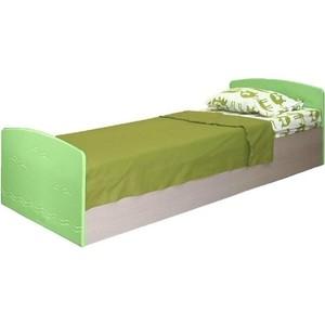 Кровать одинарная Олимп Лего - 2 дуб линдберг/ПВХ эвкалипт металлик