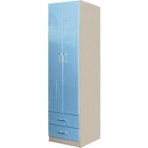 Шкаф для одежды Олимп Лего - 3 дуб линдберг/ПВХ голубой металлик