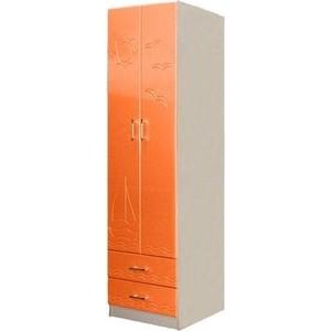 Шкаф для одежды Олимп Лего - 3 дуб линдберг/ПВХ оранжевый металлик