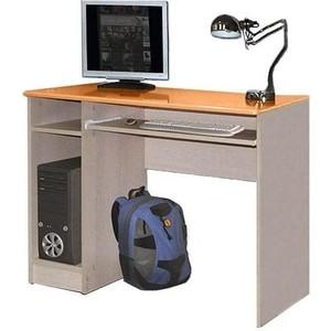 Стол компьютерный Олимп Лего - 4 дуб линдберг/ПВХ оранжевый металлик