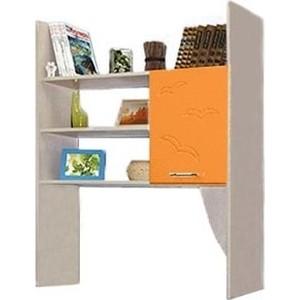 Секция с полками Олимп Лего - 5 дуб линдберг/ПВХ оранжевый металлик
