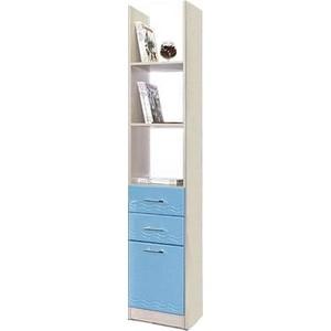 Шкаф комбинированный Олимп Лего - 6 дуб линдберг/ПВХ голубой металлик фото