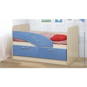 Кровать одинарная Олимп 06.01 Дельфин 140 дуб линдберг/голубой металлик