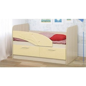Кровать одинарная Олимп 06.01 Дельфин 140 дуб линдберг/кремовый металлик