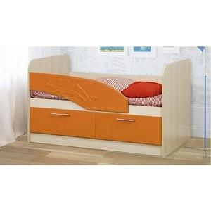 Кровать одинарная Олимп 06.01 Дельфин 140 дуб линдберг/оранжевый металлик