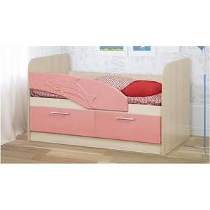 Кровать одинарная Олимп 06.01 Дельфин 140 дуб линдберг/розовый металлик