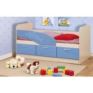 Кровать одинарная Олимп 06.222 Дельфин 160 дуб линдберг/голубой металлик