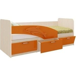 Кровать одинарная Олимп 06.222 Дельфин 160 дуб линдберг/оранжевый металлик