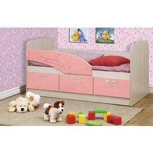 Кровать одинарная Олимп 06.222 Дельфин 160 дуб линдберг/розовый металлик