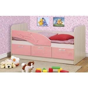 Кровать одинарная Олимп 06.223 Дельфин 180 дуб линдберг/розовый металлик