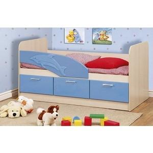 Кровать одинарная Олимп 06.224 Дельфин 200 дуб линдберг/голубой металлик