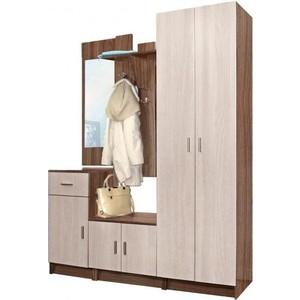 Шкаф комбинированный Олимп Виола - 4 ясень шимо темный/ясень светлый/зеркало