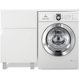 Тумба с раковиной Эстет Даллас Люкс 100L напольная, над стиральной машиной, белая (ФР-00002315)